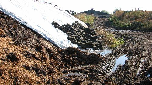 Sikohaufen ohne Betonbefestigung auf der Wiese